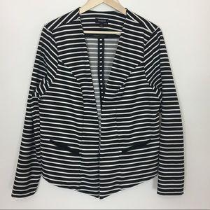 Torrid black & white striped open front blazer